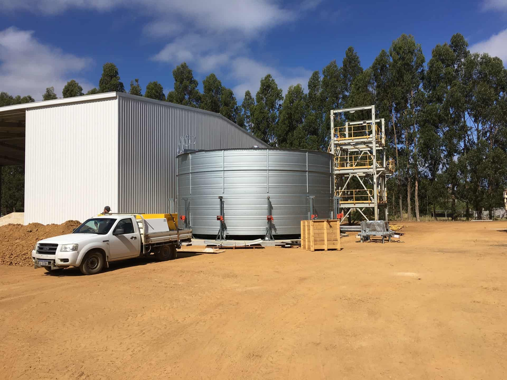 delivery of water tank materials to site